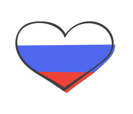 Vector hand drawn illustration with national flag of Russian Federation in doodle heart shape isolated on white background. Modern simple flat illustration. Vectores