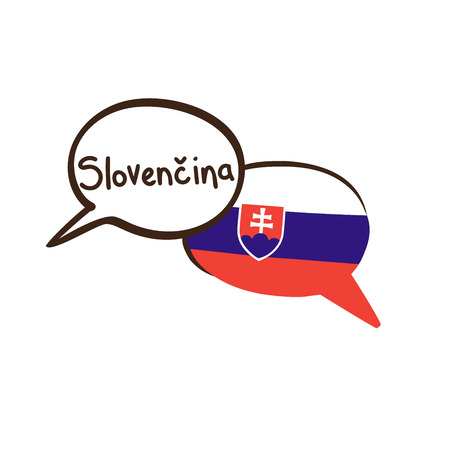 Vector illustration with two hand drawn doodle speech bubbles with a national flag of Slovakia. Modern design for language.