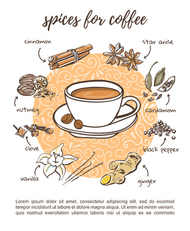 Recipe card design Spices for coffee. Doodle vector illustration with tasty soft drink and additive. Hand drawn cup with hot beverage and doodle.