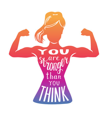 You are stronger than you think. Motivational vector fitness illustration. Female silhouette doing bicep curl, hand written phrase and colorful gradient. Inspirational card, poster or print design.