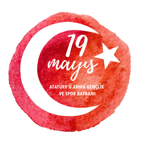 19 Mayis. Translation: 19 May Commemoration of Ataturk, Youth and Sports Day. Hand drawn vector illustration with bright red texture, national turkish symbol and congratulation text on public holiday