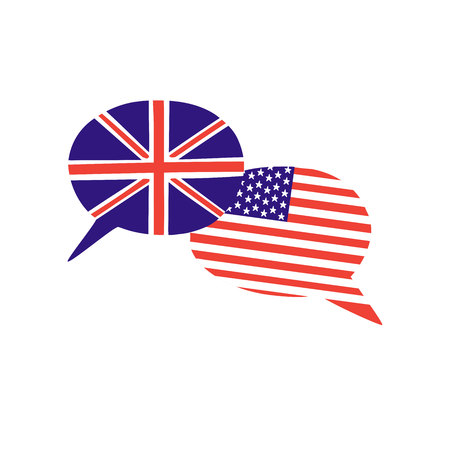 Vector illustration with two hand drawn doodle speech bubbles with national flags of the USA and the United Kingdom. Modern design for a language school. International and intercultural relations Illustration