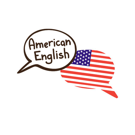 Vector illustration with two hand drawn doodle speech bubbles with a national flag of the USA and hand written inscription American English. Modern design for language. Иллюстрация