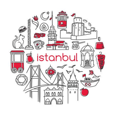 Istanbul. Vector illustration of famous turkish symbols and landmarks in circle frame. Hand drawn outline doodle elements isolated on white. City tourism design conception Simple minimalistic style. Stock Illustratie