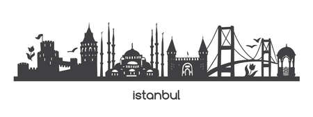 Vector horizontal illustration Istanbul. Black silhouette of famous turkish symbols and landmarks. Hand drawn elements of a tower, bridge, tram, mosque in Turkey. Panoramic banner or print design.