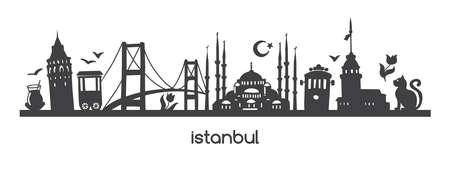 Vector panoramic illustration Istanbul with black silhouette of turkish symbols and landmarks of Turkey. Hand drawn elements: Galata tower, bridge, tram, mosque. Horizontal banner or print design. Stock Illustratie