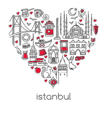 Hand drawn vector illustration Istanbul of famous turkish symbols in heart shape. Hand drawn outline doodle landmarks of Turkey isolated on white. City tourism design conception in modern clean style