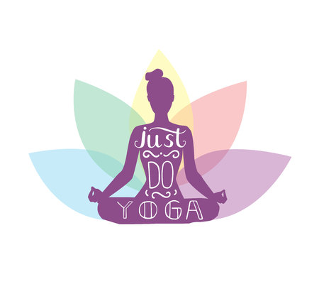 Just do yoga. Vector lettering illustration with silhouette of meditating woman with lotus flower petals behind. Isolated on white background. Yoga icon for logo, poster, banner, flyer or card design. Illustration