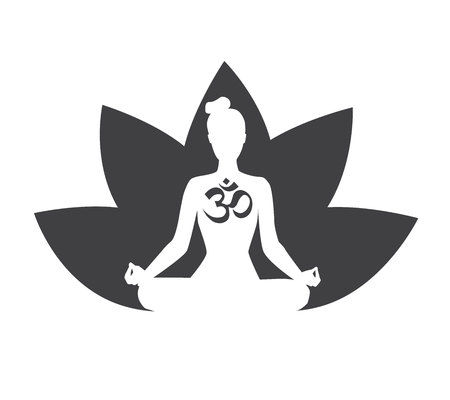 Vector black and white illustration with silhouette of meditating woman, lotus flower and religious symbol Om. Isolated on white background. Yoga icon for logo, poster, banner, flyer or card design. Stok Fotoğraf - 102935702