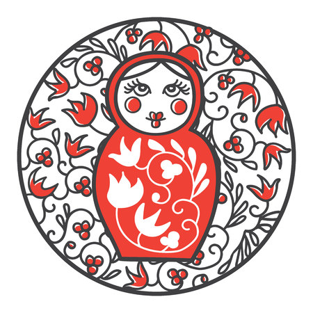 Matryoshka in a circle frame with a national floral ornament. Modern line image with famous souvenir of Russia in black, red and white colors. Illustration