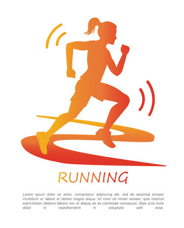 Running. Vector poster with a silhouette of a running woman on a track in a gradient of a red, orange and yellow colors. Fitness illustration with a female figure and place for your text.