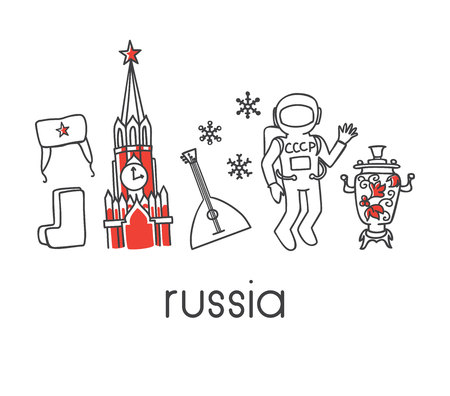 Modern vector line illustration Russia with famous russian symbols: Spasskaya Kremlin tower, soviet cosmonaut, ushanka hat, boots, samovar, balalaika. Hand drawn outline icons isolated on white