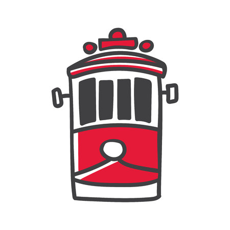 Modern vector line illustration of hand drawn doodle turkish symbol - red retro tram. Simple minimalistic sketch with black outline and red element isolated on white. Touristic logo, icon. Ilustracja