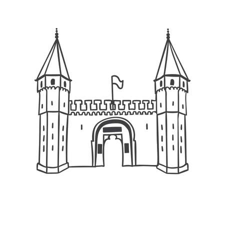 Topkapi Palace in Istanbul. Vector illustration of the Gate of Salutation. Hand drawn ottoman architecture in simple line style isolated in white background. Travel icon design. Stock Illustratie