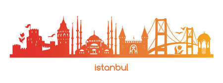 Horizontal vector illustration Istanbul with red, orange, yellow, gradient silhouette of famous turkish symbols, sights, landmarks. Hand drawn elements of a tower, bridge, gate, mosque in Turkey.