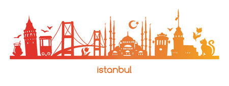Vector illustration Istanbul with colorful gradient silhouette of famous turkish symbols and landmarks. Hand drawn elements of a tower, bridge, tram, mosque in Turkey. Horizontal banner design Vettoriali