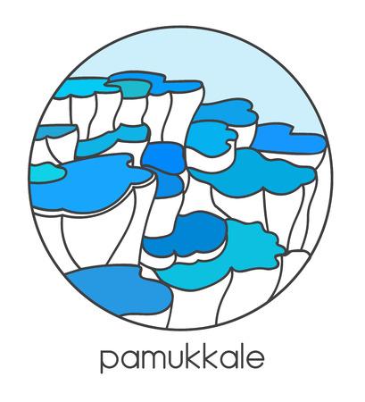 Vector illustration of famous turkish landmark and travel destination Pamukkale in central Turkey. Modern line image in white and blue colors in circle frame for label, badge, card design. Ilustração