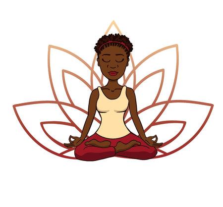 Ilustración de vector doodle de niña africana linda meditando en posición de loto con pétalos de flores detrás. Personaje de dibujos animados para la práctica de yoga y meditación aislado en blanco.