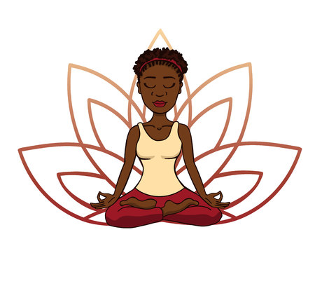Vector doodle illustration of young cute african girl meditating in lotus pose with flower petals behind. Cartoon character for yoga and meditation practice isolated on white. Ilustração