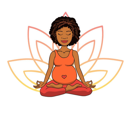 Prenatal yoga. Vector illustration of young cute african girl meditating in lotus position with flower petals in pink and orange gradient colors behind. Pregnant woman doing meditation practice.