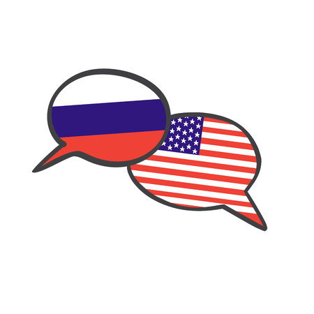 Vector illustration with two hand drawn doodle speech bubbles with national flags of Russia and the USA. Modern design for foreign language course, classes, school or translation agency.