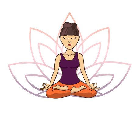 Vector doodle illustration of young cute asian girl meditating in lotus pose with flower petals behind. Cartoon character for yoga and meditation practice isolated on white.