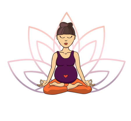 Prenatal yoga. Vector illustration of young cute asian girl meditating in lotus position with flower petals in violet and pink gradient colors behind. Pregnant woman doing meditation practice. Illustration