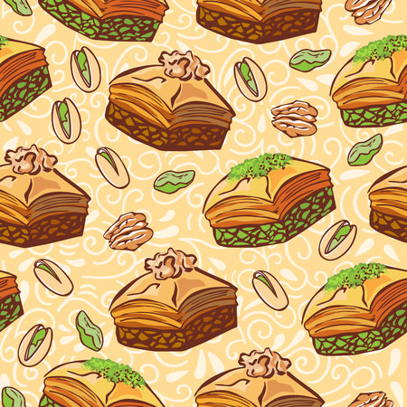 Vector seamless pattern with traditional middle eastern dessert Baklava with pistachio and walnut. Hand drawn doodle objects on floral ornament with swirls on beige background. Print, whapping paper