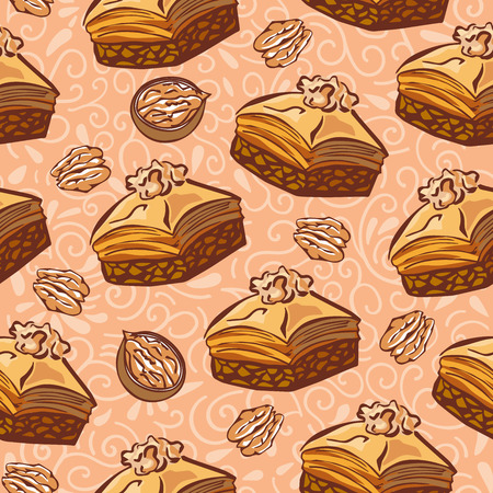 Vector seamless pattern with traditional middle eastern dessert Baklava with walnut. Hand drawn doodle objects on floral ornament with swirls on light beige background. Print, whapping paper design.