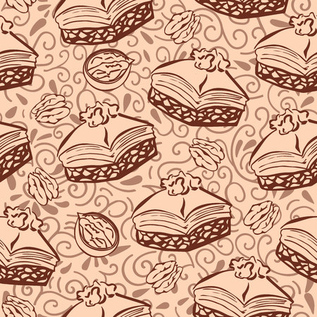 Vector seamless pattern with traditional middle eastern dessert Baklava with walnut. Hand drawn doodle objects on floral ornament with swirls on light brown background. Print, whapping paper design.