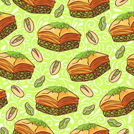 Vector seamless pattern with traditional middle eastern dessert Baklava with pistachio nuts. Hand drawn doodle objects on floral ornament with swirls on light green background. Print, whapping paper