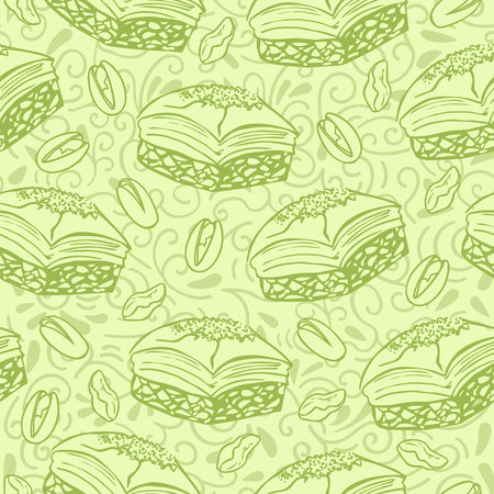 Neutral vector seamless pattern with background middle eastern dessert Baklava with pistachio nuts. Hand drawn doodle objects on floral ornament with swirls on green background. Print, whapping paper