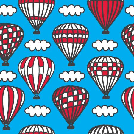 Cappadocia. Vector seamless pattern with cute doodle air balloons with clouds in the sky. Hand drawn cartoon elements on a bright background in black, blue, red and white colors.