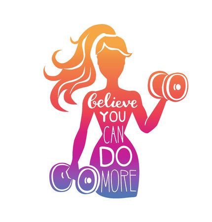 Believe you can do more. Motivational vector lettering illustration with silhouette of woman with dumbbells. Hand written phrase and gradient. Inspirational fitness card, poster or print design. Stok Fotoğraf - 104619870