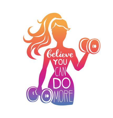 Glauben Sie, Sie können mehr tun. Motivierende Vektorbeschriftungsillustration mit Schattenbild der Frau mit Hanteln. Handgeschriebene Phrase und Farbverlauf. Inspirierende Fitnesskarte, Poster oder Druckdesign. Vektorgrafik