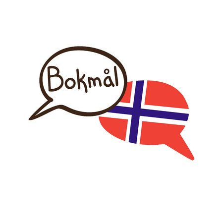 Translation: Norwegian. Vector illustration of hand drawn doodle speech bubbles with a national flag of Norway and hand written name of literary language. Linguistic course or translation agency