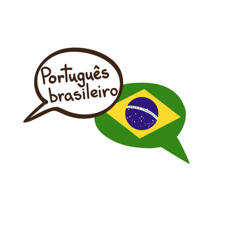 Translation: Brazilian Portuguese. Vector illustration of hand drawn doodle speech bubbles with a national flag of Brazil and hand written name of the language. Linguistic or translation agency design
