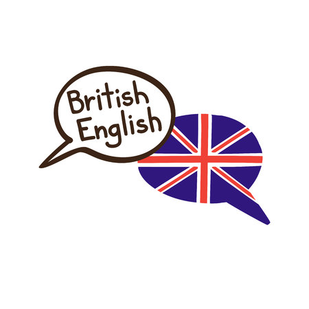 British English. Vector illustration of hand drawn doodle speech bubbles with a national flag of the UK and hand written name of the language. Linguistic course or translation agency design