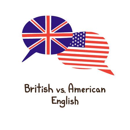 Illustrazione vettoriale con due fumetti doodle disegnati a mano con una bandiera nazionale di e il nome scritto a mano della lingua. Design moderno per il linguaggio.