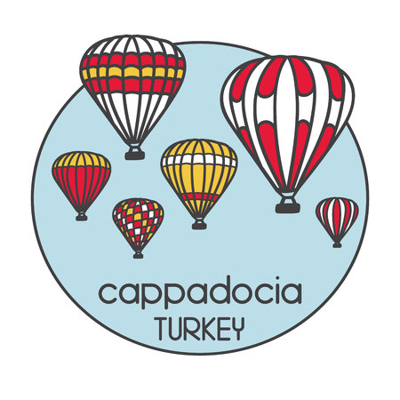 Modern illustration of a turkish travel destination Cappadocia and its symbol bright air balloons. Hand drawn doodle objects in a circle frame. Black outline and colorful blocks.
