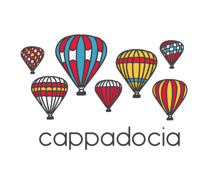 Bright illustration of a famous turkish travel destination Cappadocia and its symbol colorful striped air balloons. Hand drawn doodle objects isolated on white background.