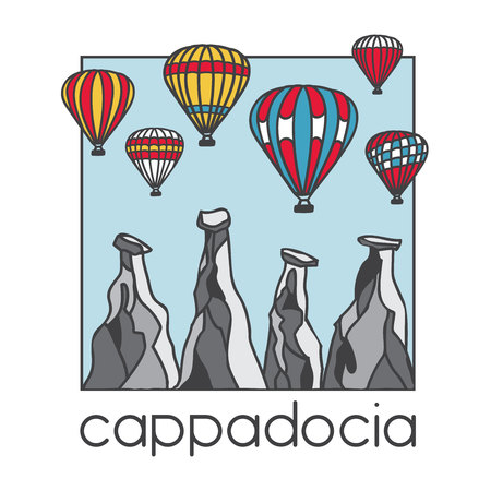 Modern illustration of a famous turkish travel destination Cappadocia. Bright striped air balloons and chimney rocks. Hand drawn colored doodle objects in square frame with blue background. Illustration