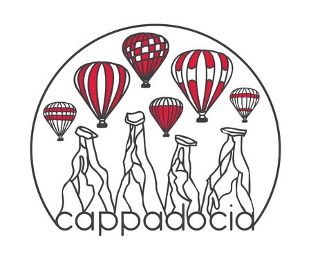 Modern illustration of a famous turkish travel destination Cappadocia. Striped air balloons, chimney rocks in half circle frame. Hand drawn doodle black outline and red color blocks on white.