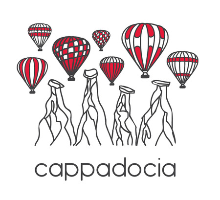 Modern illustration of a turkish travel destination Cappadocia and its symbol bright air balloons. Hand drawn doodle objects in clear design style: black outline and red color blocks on white.