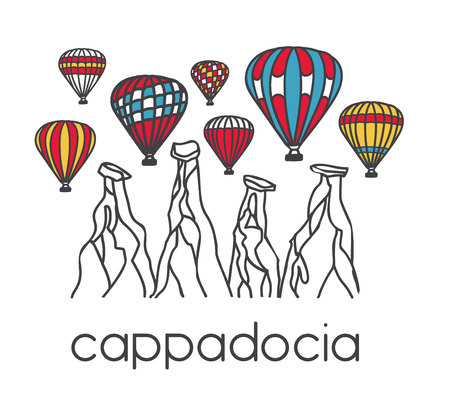 Vector illustration of a famous turkish travel destination Cappadocia. Colorful air balloons and chimney rocks. Hand drawn doodle objects in horizontal banner on white background. Illustration