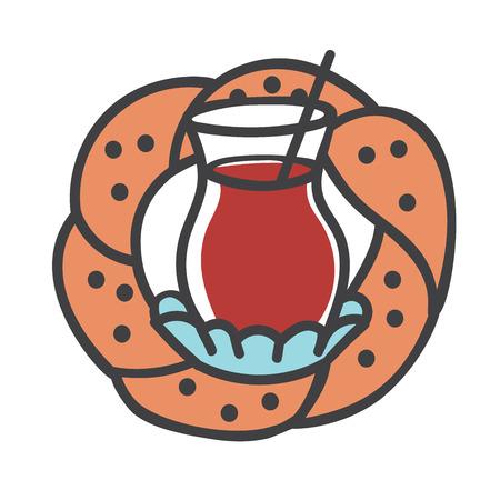 Colored modern vector illustration of turkish symbols: black tea glass, traditional bagel. Hand drawn doodle elements for banner, label, badge or card design for cafe or bakery.