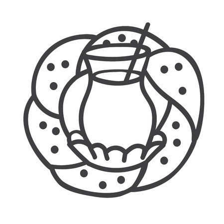 Modern outline vector illustration of turkish glass with black tea and traditional bagel. Hand drawn doodle elements for minimalistic label, badge or card design for cafe or bakery.