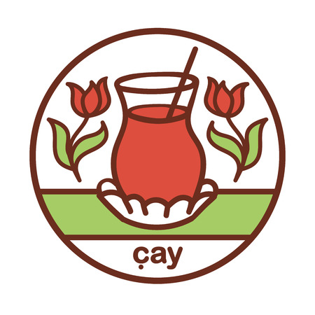 Turkish tea. Colored vector illustration of a traditional glass with a hot drink and tulip flowers. Hand drawn doodle objects in a circle for label,  badge, package, banner or card design.