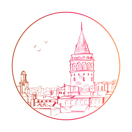 Vector sketchy illustration with a silhouette of a Galata tower in Istanbul in a circle. Hand drawn famous turkish landmark in red, orange and yellow gradient colors.