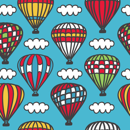 Cappadocia. Bright vector seamless pattern with cute doodle striped hot air balloons with baskets and clouds in the sky. Colorful hand drawn cartoon elements on blue background.